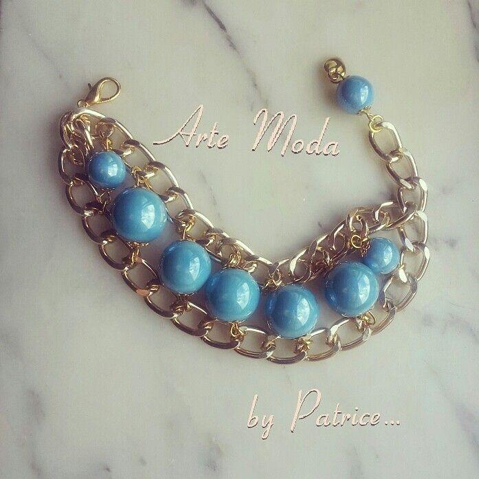 """Collezione Patrice creation:modello """"Agropoli♥""""...bracciale con doppia catena e con pietre in ceramica color mare..per qiesta particolarità del colore delle pietre che mi ricordano il mare della mia Agropoli che ho deciso di chiamare così questo bracciale :-)..#accessory#bijoux#bracelet#depop#madeinitaly#fashion#moda#agropoli#cilento#handmade#creazioni#love#style#outfit#designer#"""