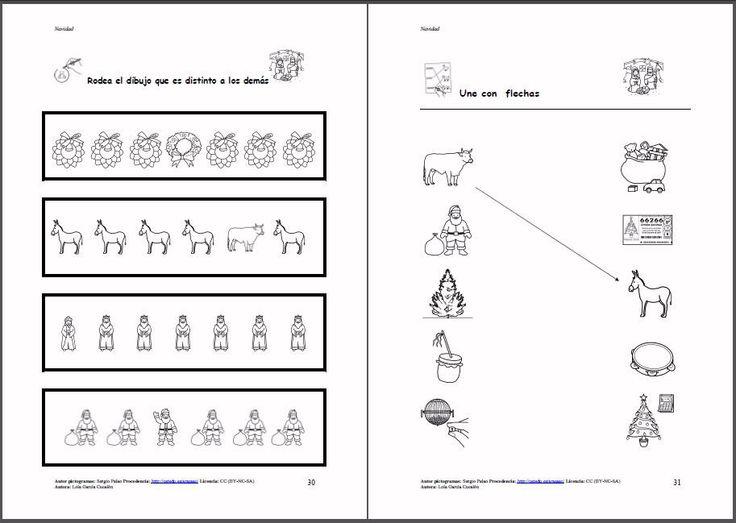 MATERIALES - La Navidad (en blanco y negro).  Libro con diferentes actividades sobre la navidad: vocabulario y fichas sobre el tema principalmente.   http://www.catedu.es/arasaac/materiales.php?id_material=1095
