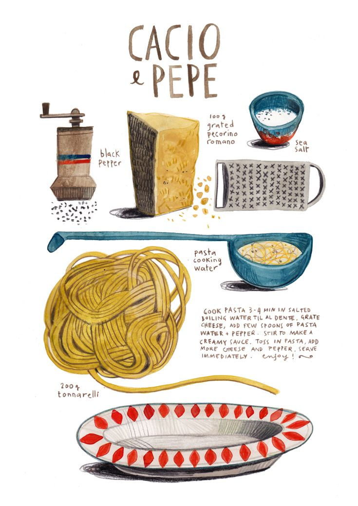 felicita sala illustration: illustrated recipes: cacio e pepe
