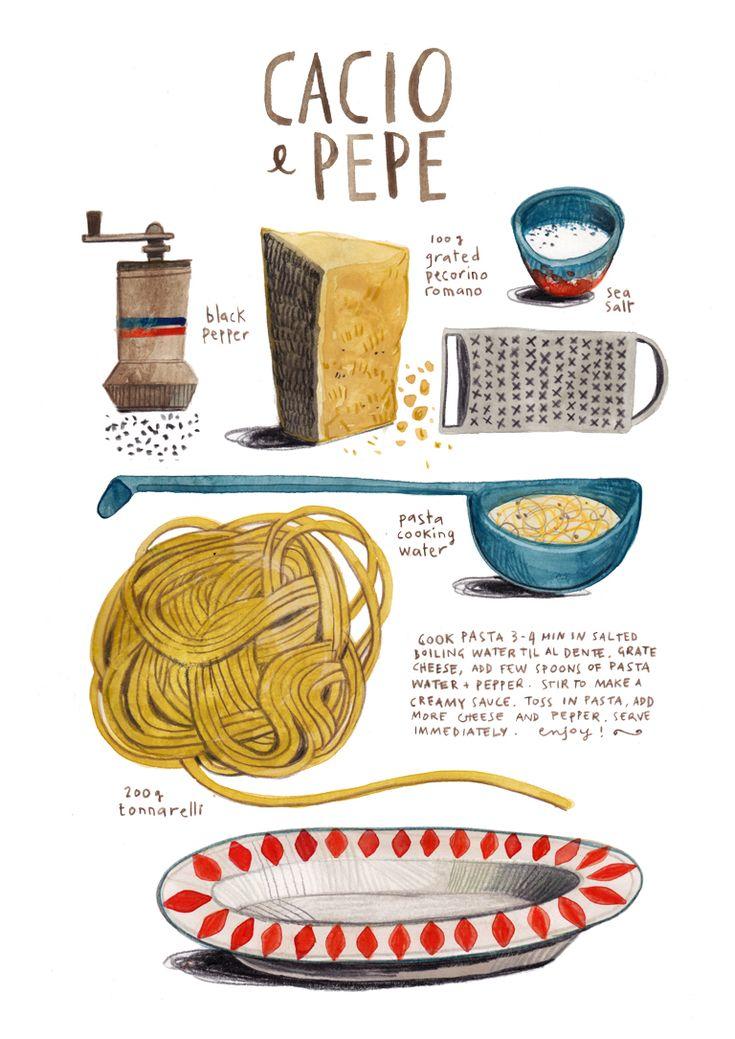 illustrated recipes: cacio e pepe #pastalovers