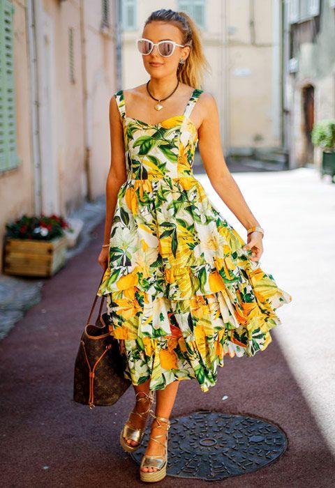 Singer Tallia Storm wearing a lemon print dress | ASOS Fashion & Beauty Feed