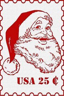 Santa stamp... so cute!  (and 33 more free Christmas printables)