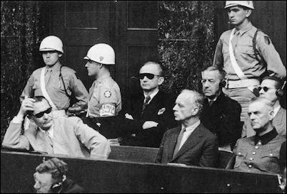 Nuremberg Trials:  Hermann Göring, Karl Dönitz, Joachim von Ribbentrop, Erich Raeder, Wilhelm Keitel, Baldur von Schirach, and Ernst Kaltenbrunner at the Nuremberg Trial, Germany, 1945-1946