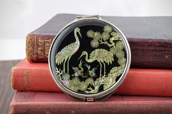 Vintage Mirror Compact  Asian Style Mother of by LoAndCoVintage