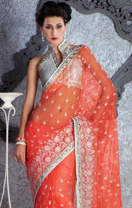 PT011068 Reddish Orange Net Saree - IndiaBazaarOnline Shopping Store - Shop with confidence
