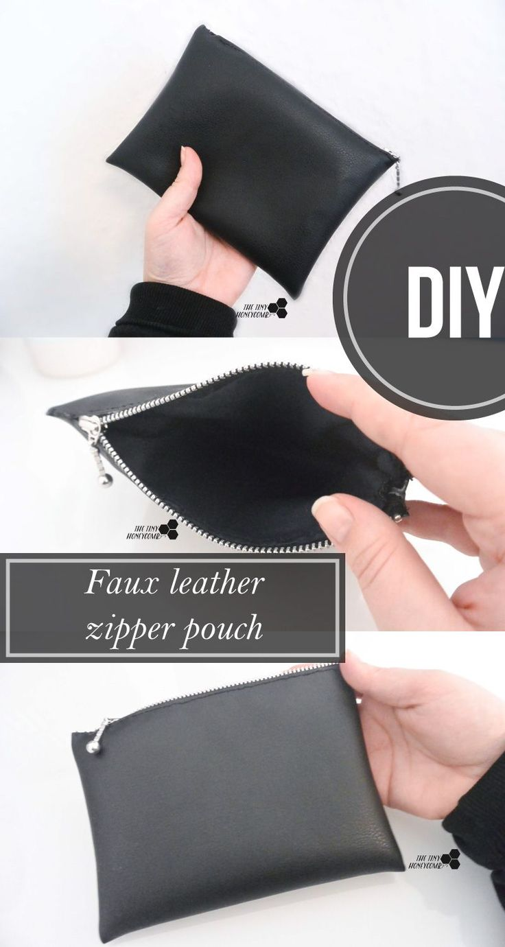 DIY Makeup bag with faux leather.