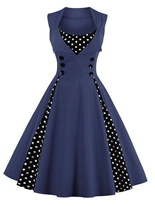 VKStar®Femmes des Années 50 Elégantes Robe avec Boutons Vintage Rockabilly Swing Robe de Cocktail Bleu Marine 4XL