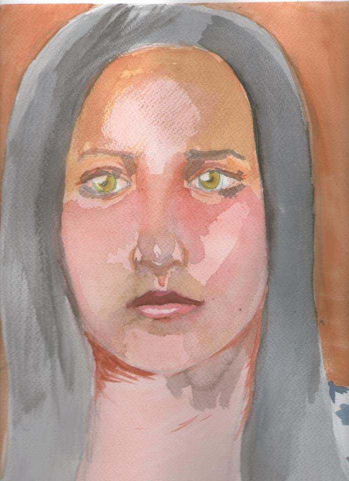 retrato acuarela. modelo en vivo