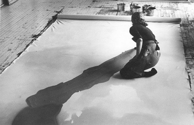 American abstract expressionist painter and artist Helen Frankenthaler photographed in her NYC studio by Austrian photographer and artist Ernst Haas, 1969.