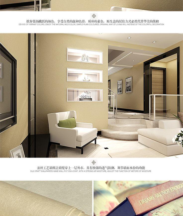 d tail de fiber de soie non tiss papier peint de salon moderne chambre couvert simple plaine. Black Bedroom Furniture Sets. Home Design Ideas