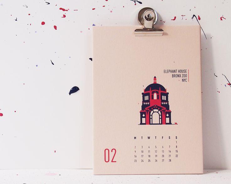 Buildings Of New York City - Elephant House Bronx Zoo, mmmMAR Illustrated and hand screened by Marieken Hensen; Calendar 2015