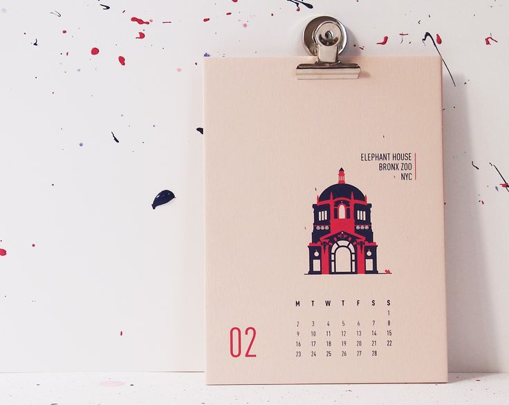 Buildings Of New York City - Elephant House Bronx Zoo, mmmMAR Illustrated and hand screened by Marieken Hensen; Calendar 2015