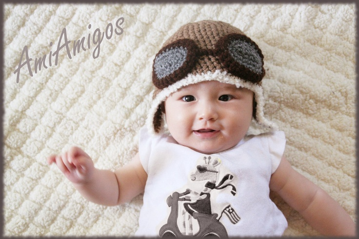 Crochet Aviator Hat by AmiAmigos #Baby #Aviator_Hat