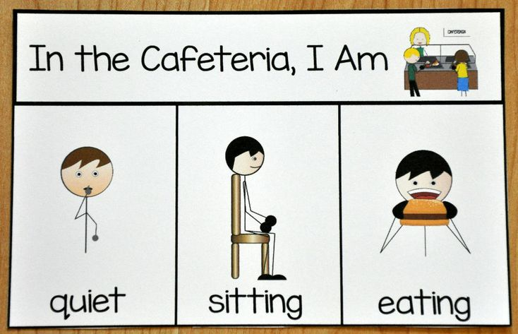 "Cafeteria Behavior Card - This printable behavior support is a visual support for students with Autism or any other visual learner. This behavior reminder card is ideal for students who have difficulty with appropriate behavior in the school cafeteria. This reminder card, visually reminds students ""When I'm in the cafeteria, I am quiet, sitting, and eating."""