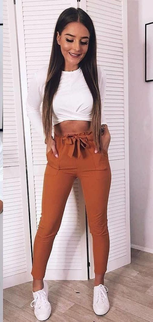 white top and brown pants #spring #outfits