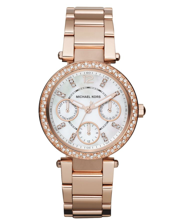 05b42f6f056 Michael Kors Women s Chronograph Mini Parker Rose Gold-Tone Stainless Steel  Bracelet Watch 33mm MK5616