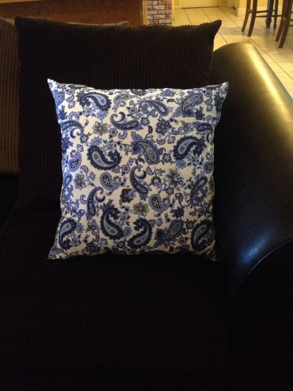 Paisley blue throw pillow