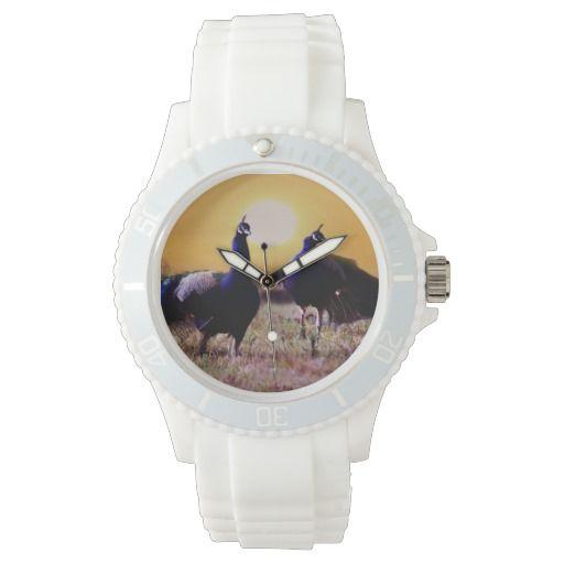 Blue peacocks of happiness wrist watch