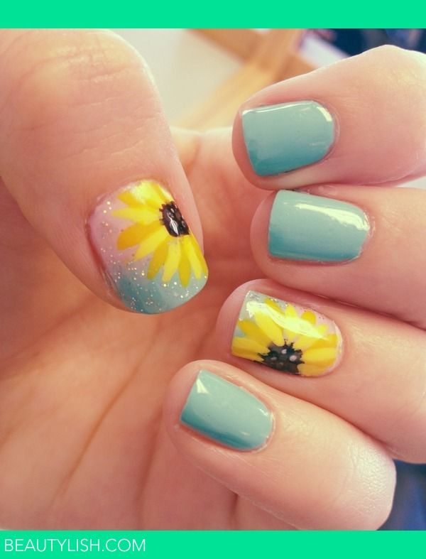 Sunflower Nails, Beautiful For Spring<3