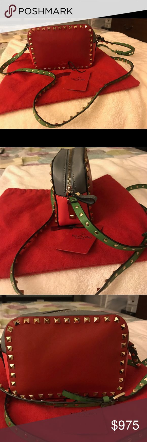 Valentino Garavani Multi Color Shoulder Bag in Red Valentino Garavani Cross body bag in multicolor calfskin leather. The unique color combination is specific to the style. All around platinum finishing studs detail. Zip closure. Cotton lining. Internal open pocket. Adjustable studded strap. Dimensions H 30XW42XD3 cm / H11''XW16.2''XD1''.  Made in Italy. Details Studs Logo detail Multicolor Pattern Zip closure Internal pocket Adjustable shoulder Valentino Garavani Bags Crossbody Bags
