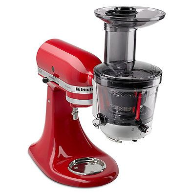 Attachment allows you to use your KitchenAid Stand Mixer to easily make sauce and juice a variety of foods. Features variable speed settings and includes 3 pulp screens and an extra-wide feed tube for juicing most whole fruits and vegetables.