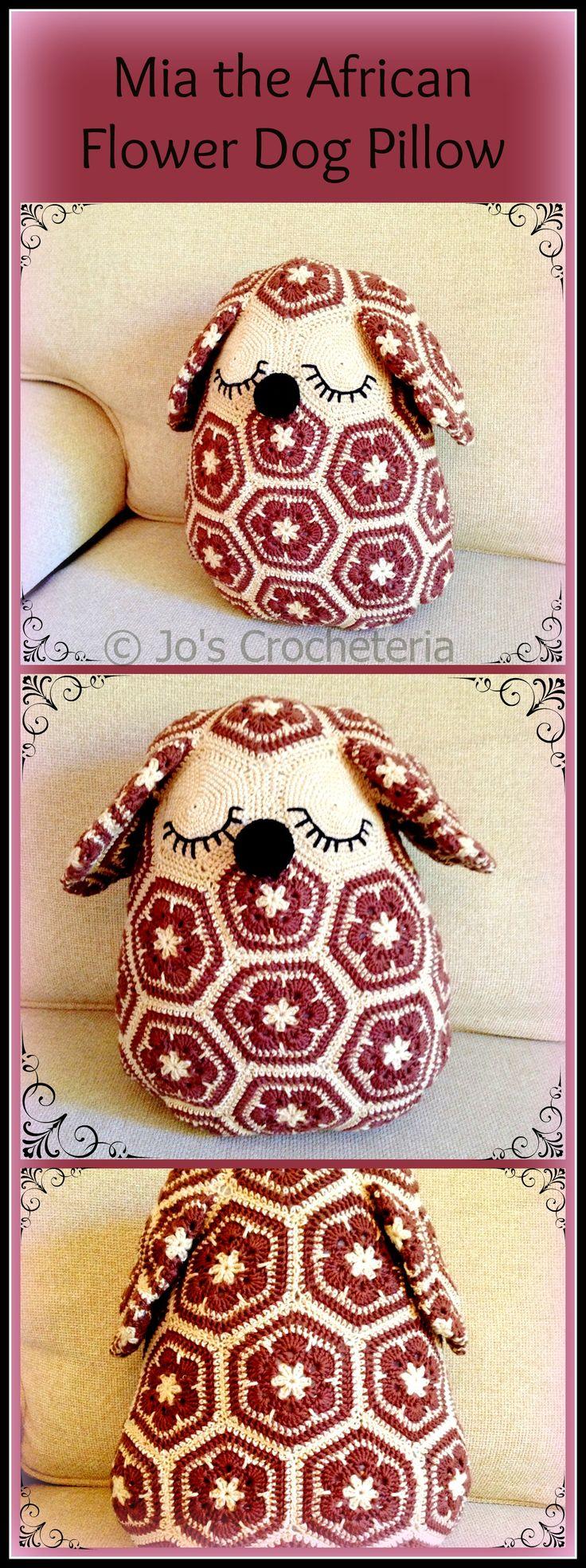 $ 6,30 USD Mia the African flower Dog Pillow - Crochet Pattern! By Jo's Crocheteria https://www.etsy.com/listing/160079111/mia-the-african-flower-dog-pillow
