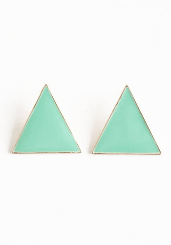 Clever Mint Triangle Earrings - $14.00 : ThreadSence.com, Your Spot For Indie Clothing & Indie Urban Culture