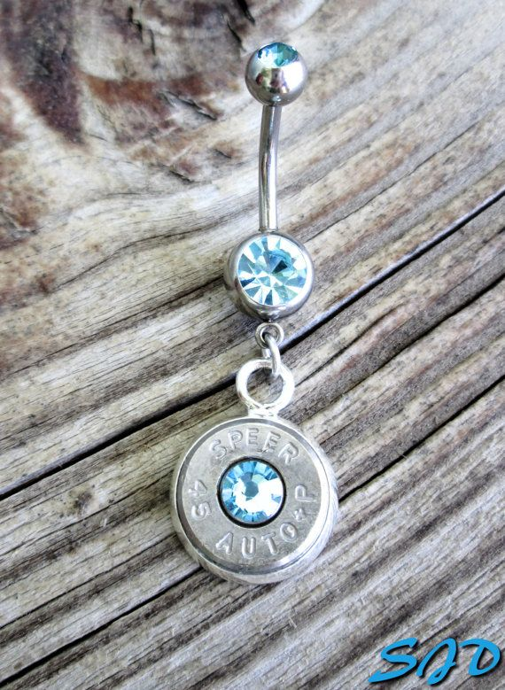 Bullet Belly Ring Aquamarine by Sarahsjewelrydesigns on Etsy, $25.00