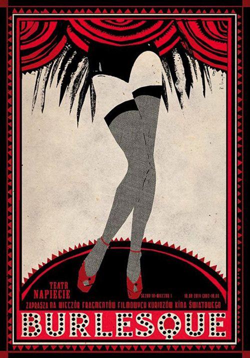 Polish poster by Ryszard Kaja, 2014, Burlesque film evening.