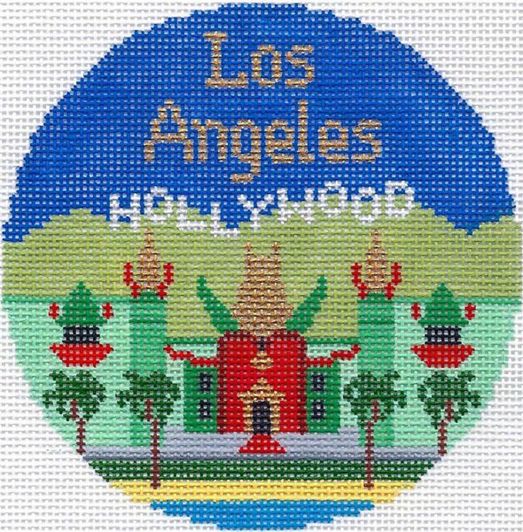 Needlepoint Handpainted Silver Needle LA LOS ANGELES Christmas Ornament Lee