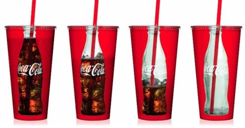 Advertising for Coca-Cola products lately have been more catering towards a younger audience who are fascinated by irony and sarcasm. This cup design does just that by creating an illusion of an old Coke bottle while actually being a modern, disposable drinking cup. This is similar to the idea behind memes and similar designed entertainment that is currently popular.