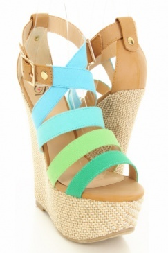 Turquoise Multi Canvas Faux Leather Strappy Woven Wedges $23.99