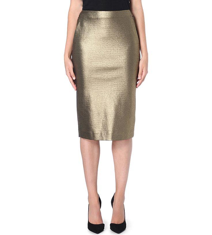 MAX MARA - Cracked-effect stretch-crepe pencil skirt | Selfridges.com