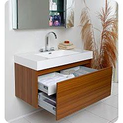 Fresca Mezzo Teak Bathroom Vanity with Medicine Cabinet - 1299 on overstock - modern?