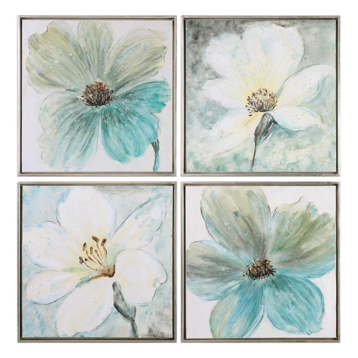 Florals In Cream And Teal Framed Art S/4