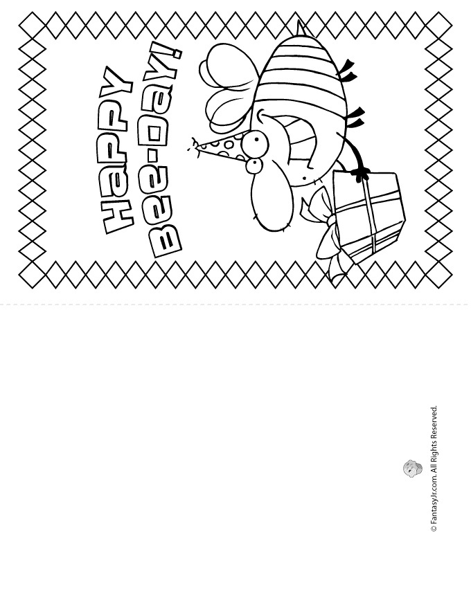 Birthday Card Coloring Pages Happy Bee-Day Birthday Card ...