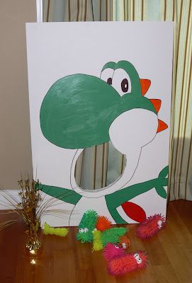 Mario party game: Feed Yoshi  I just need an extra large cardboard box & some paint...get the kids to help!