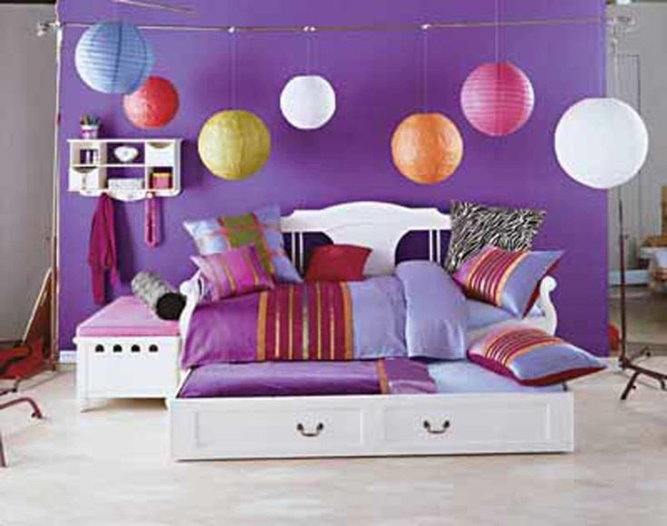 Teenage Bedrooms : One Step To Teens World: Wonderful Teenage Bedrooms Using White Daybed With Storage Colorful Pendant Lighting As Bedroom Lighting Ideas Also Modern Pink Bedside Table Large Purple Curtains Deparator For Bedroom Decorations ~ surrealcoding.com bedroom Inspiration
