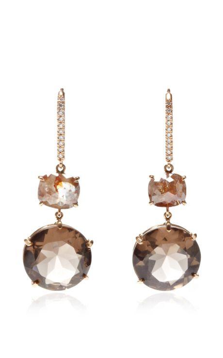One Of A Kind Smokey Topaz And Rough Diamond Cushion Earrings by Nina Runsdorf for Preorder on Moda Operandi