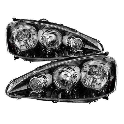 Black 2005-2006 Acura RSX Headlights Headlamps Pair Left