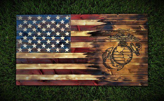 7cdc86a00b0f Large   American Marine Flag   Marines   Wooden Flag   Wooden ...