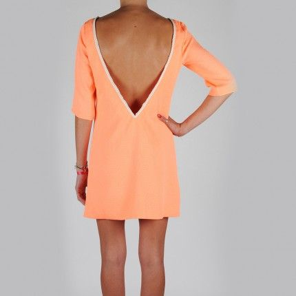 Robe Dos Nu V Perlée Orange - The Place to Dress