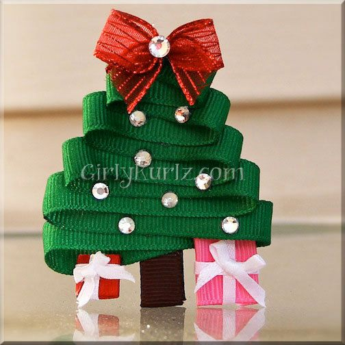 Christmas Tree Hair Clip Christmas Ribbon Sculpture