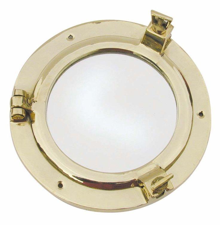 Bullauge+Spiegel,+rund+:+Runder+Bullaugenspiegel+aus+Messing.