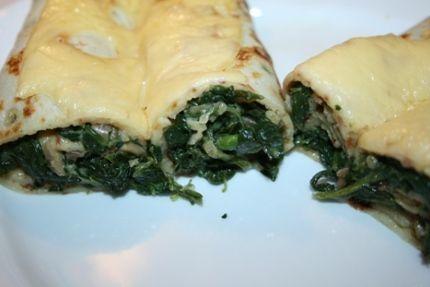 Zapečené palačinky se špenátem / Pancakes baked with spinach
