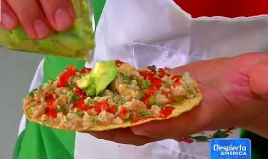 Receta para ceviche de soya texturizada y tacos mexicanos.