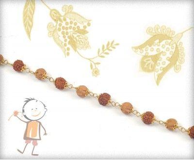 Elegant #Rudraksh #Copper Beads #Bracelet #Rakhi - http://www.bablarakhi.com