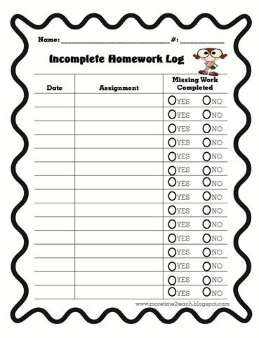 Incomplete Homework Log - part of packet for homework