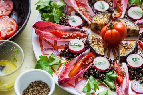 Za'atar Salad with Quinoa, Aubergine and Fresh Herbs