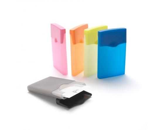 HIBY card holder - Quick flip cover with one hand. Soft transparent colours. Capacity of max 40 business cards or 8 bank cards - designed by Shin-ichi Sumikawa